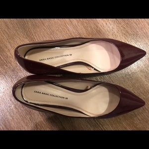 Zara mid-height block heels- Oxblood patent effect